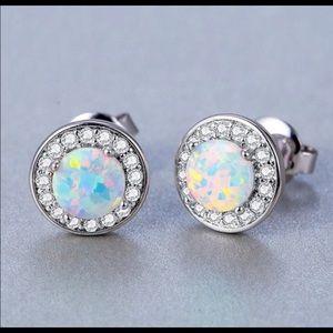 Fire opal earrings set in sterling posts NWT Farah